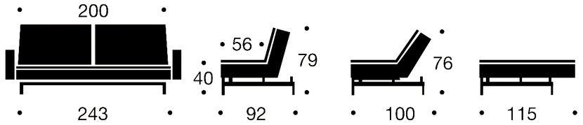 Dublexo sofa rozkładana z podłokietnikami - wymiary