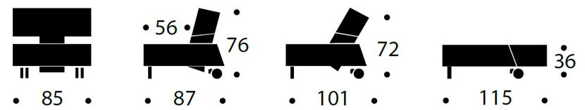 LONG HORN fotel rozkładany - wymiary