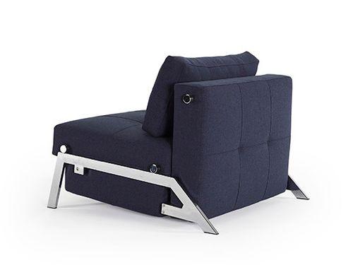 Fotele Pufy I Podnóżki Cubed 90 Chrom Fotel Rozkładany