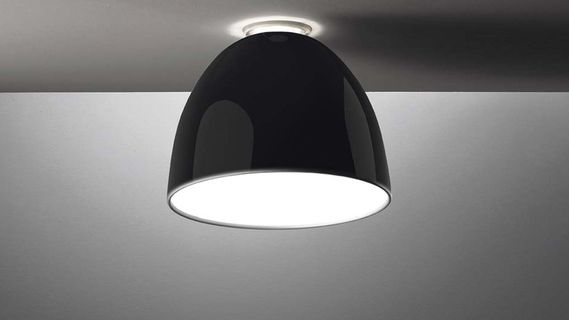 ARTEMIDE NUR GLOSS MINI SOFFITO HALO, CZARNA