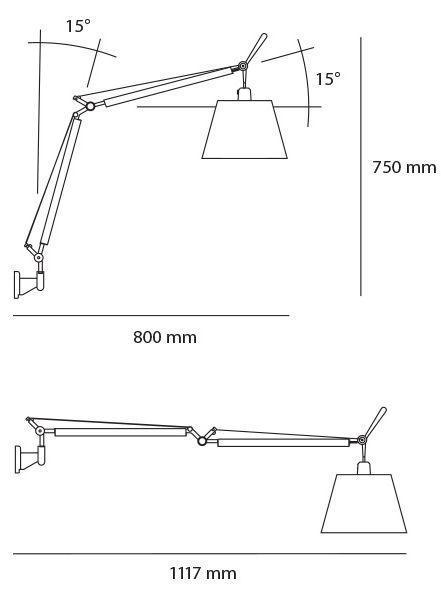Lampy ścienne Kinkiety Artemide Tolomeo Basculante Wall